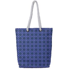 Floral Circles Blue Full Print Rope Handle Tote (small) by BrightVibesDesign