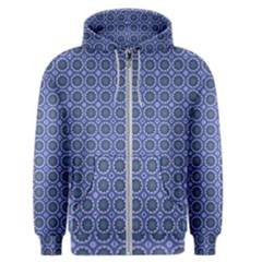 Floral Circles Blue Men s Zipper Hoodie by BrightVibesDesign