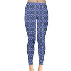 Floral Circles Blue Inside Out Leggings by BrightVibesDesign