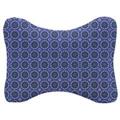 Floral Circles Blue Velour Seat Head Rest Cushion by BrightVibesDesign