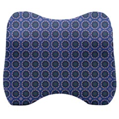 Floral Circles Blue Velour Head Support Cushion by BrightVibesDesign