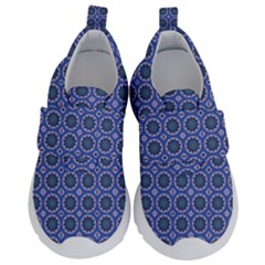 Floral Circles Blue Velcro Strap Shoes