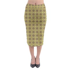 Floral Circles Yellow Midi Pencil Skirt