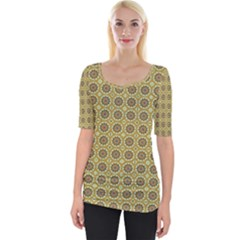 Floral Circles Yellow Wide Neckline Tee by BrightVibesDesign