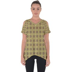 Floral Circles Yellow Cut Out Side Drop Tee by BrightVibesDesign