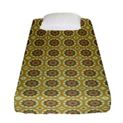 Floral Circles Yellow Fitted Sheet (single Size) by BrightVibesDesign