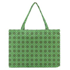 Floral Circles Green Zipper Medium Tote Bag