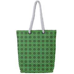 Floral Circles Green Full Print Rope Handle Tote (small) by BrightVibesDesign