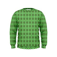Floral Circles Green Kids  Sweatshirt by BrightVibesDesign