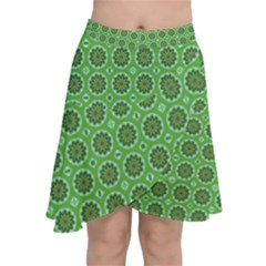 Floral Circles Green Chiffon Wrap Front Skirt by BrightVibesDesign