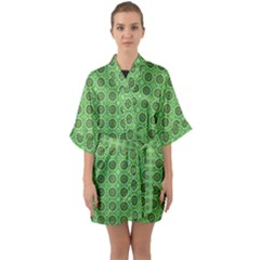 Floral Circles Green Quarter Sleeve Kimono Robe by BrightVibesDesign