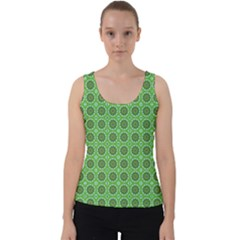 Floral Circles Green Velvet Tank Top by BrightVibesDesign