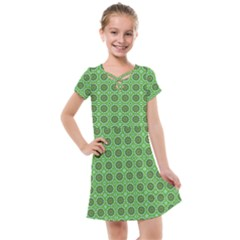 Floral Circles Green Kids  Cross Web Dress