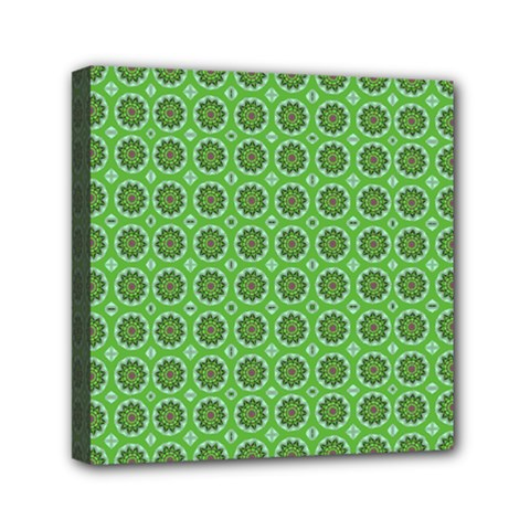 Floral Circles Green Mini Canvas 6  X 6  (stretched)
