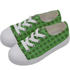 Floral Circles Green Kids  Low Top Canvas Sneakers by BrightVibesDesign