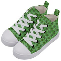 Floral Circles Green Kid s Mid Top Canvas Sneakers by BrightVibesDesign