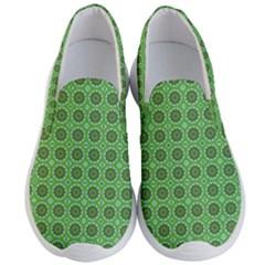 Floral Circles Green Men s Lightweight Slip Ons by BrightVibesDesign