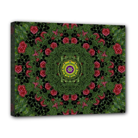 Sunshine Mandala In Rose Heaven Canvas 14  X 11  (stretched)