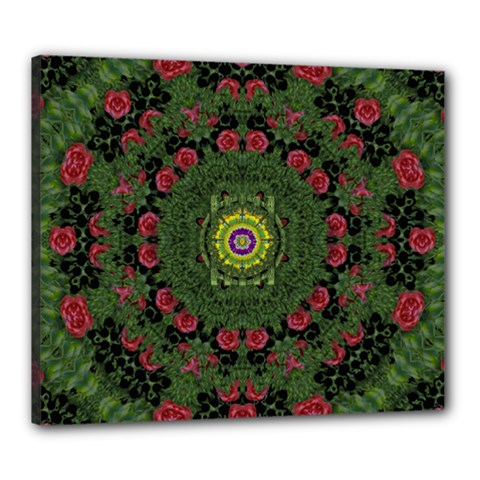 Sunshine Mandala In Rose Heaven Canvas 24  X 20  (stretched) by pepitasart