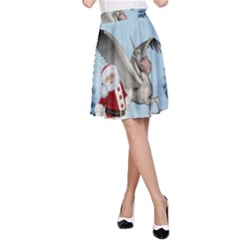 Santa Claus With Cute Pegasus In A Winter Landscape A-line Skirt