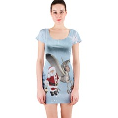 Santa Claus With Cute Pegasus In A Winter Landscape Short Sleeve Bodycon Dress