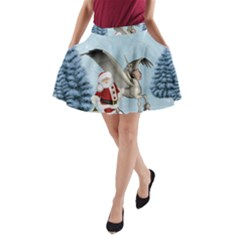 Santa Claus With Cute Pegasus In A Winter Landscape A Line Pocket Skirt