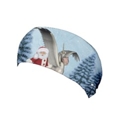 Santa Claus With Cute Pegasus In A Winter Landscape Yoga Headband