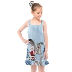 Santa Claus With Cute Pegasus In A Winter Landscape Kids  Overall Dress