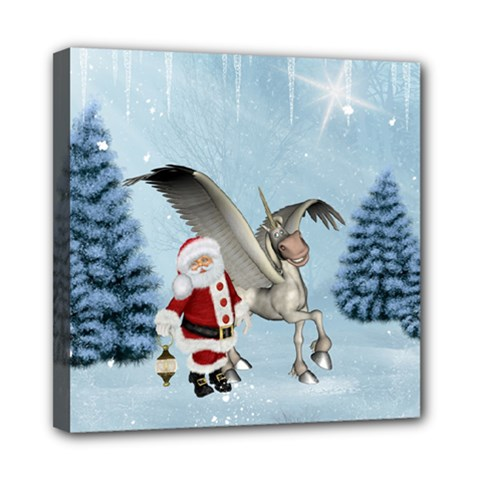 Santa Claus With Cute Pegasus In A Winter Landscape Mini Canvas 8  X 8  (stretched) by FantasyWorld7