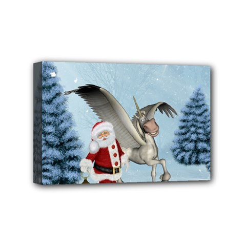 Santa Claus With Cute Pegasus In A Winter Landscape Mini Canvas 6  X 4  (stretched) by FantasyWorld7