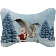Santa Claus With Cute Pegasus In A Winter Landscape Seat Head Rest Cushion by FantasyWorld7