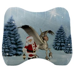 Santa Claus With Cute Pegasus In A Winter Landscape Velour Head Support Cushion by FantasyWorld7