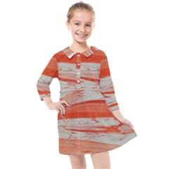 Orange Swirl Kids  Quarter Sleeve Shirt Dress by WILLBIRDWELL