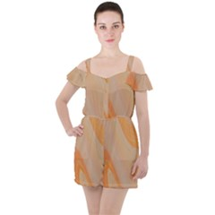 Orange 2 Ruffle Cut Out Chiffon Playsuit