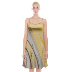 Yellow Jungle Spaghetti Strap Velvet Dress
