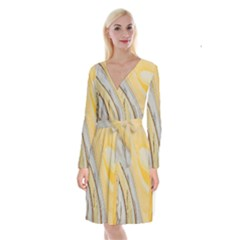 Yellow Jungle Long Sleeve Velvet Front Wrap Dress