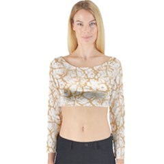 Officially Sexy Champagne & White Cracked Pattern Long Sleeve Crop Top (tight Fit) by OfficiallySexy