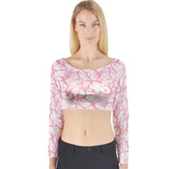 Officially Sexy Peachy Pink & White Cracked Pattern Long Sleeve Crop Top (tight Fit)