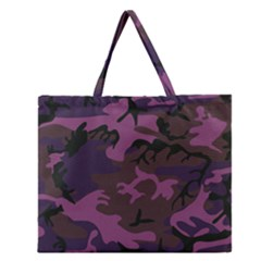 Camouflage Violet Zipper Large Tote Bag by snowwhitegirl