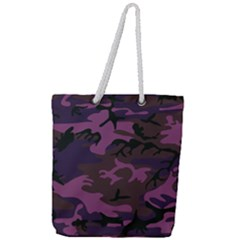 Camouflage Violet Full Print Rope Handle Tote (large) by snowwhitegirl