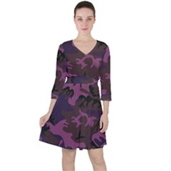 Camouflage Violet Ruffle Dress