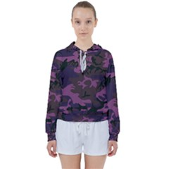 Camouflage Violet Women s Tie Up Sweat by snowwhitegirl