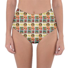 Victorian Fruit Labels Reversible High Waist Bikini Bottoms