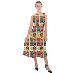 Victorian Fruit Labels Midi Tie Back Chiffon Dress
