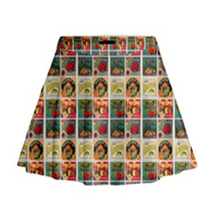 Victorian Fruit Labels Mini Flare Skirt