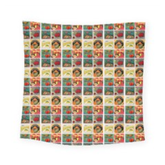 Victorian Fruit Labels Square Tapestry (small)