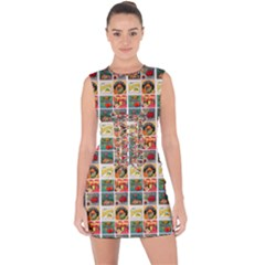 Victorian Fruit Labels Lace Up Front Bodycon Dress