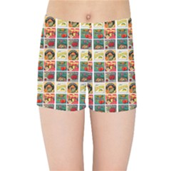 Victorian Fruit Labels Kids Sports Shorts