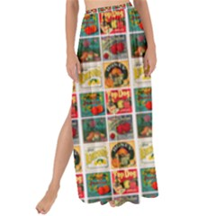 Victorian Fruit Labels Maxi Chiffon Tie Up Sarong