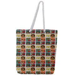 Victorian Fruit Labels Full Print Rope Handle Tote (large)